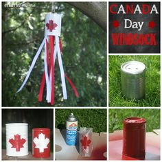 Canada Flag Windsock - Canada Day craft from an upcycled can Easy Crafts, Crafts For Kids, Arts And Crafts, Canada Day Windsock, Canada Day Crafts, Canada Day Party, School Christmas Party, O Canada, Craft Club