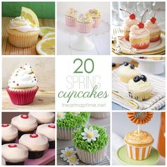 20 Spring Cupcakes! These look so pretty and look taste amazing!