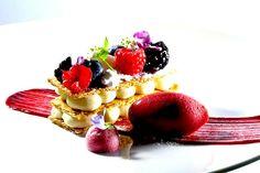 Coconut Napoleon with Raspberry Sorbet by Antonio Bachour