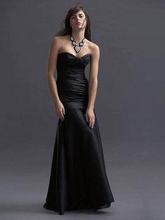 Vestido De Noche Negro de Tafetán de Sirena de Hasta suelo de Escote Corazón Con Pliegue at pickedlook.com