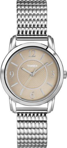 Timex Women's T2N845 Elevated Classics Dress Taupe Dial Silver-Tone Expansion Band Watch Timex. $39.53. Water-resistant to 30 meters. Textured taupe dial. Stainless steel expansion band. Durable mineral crystal protects watch from scratches. Water-resistant to 99 feet (30 M). Save 32%!