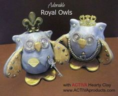 Air dry clay owls wi