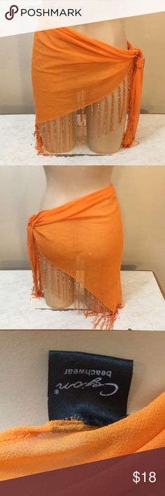 Designer Sheer Orange Beaded Boho Beach Sarong Gorgeous . Lite wear no damage . Got at a high end beach resort store . Cover up. Resort . Hawaiian . Beach babe. Boho. Gypsy- only note is the tag is a little loose ( does not hurt it ) Cejon Beachwear Swim Sarongs