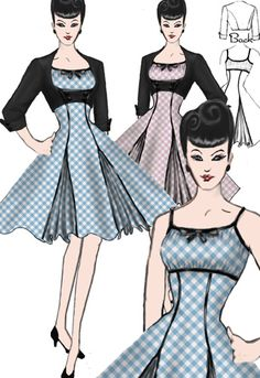 Rockabilly Dress and Jacket Set by Amber Middaugh Pin Up Outfits, Dance Outfits, Dance Dresses, Cute Dresses, Cute Outfits, Vintage Dress Patterns, Clothing Patterns, Vintage Dresses, Vintage Outfits
