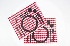 Pair of #american white&red #checkered #placemats.  The print suggests how to set the #table following the #manners of #etiquette. #Hand printed with the technique of #screen-printing using water based #non-toxic #inks. Availability time: 5 days. 100% made in Italy. Spazio Collective - #Kitchen , textile - Reputeka. - Spazio Collective - #Homedesign - #Textiles - #Cloth - Reputeka