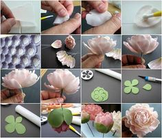 Check out how to make beautiful sugar Peony flowers.here are 2 finishes, full peony flower and closed peony with a bud.Stunning how-to thanks to Tortentante! 3 May be translated into English using the translate button on the right hand side of Sugar Paste Flowers, Icing Flowers, Fondant Flowers, Paper Flowers, Cake Decorating Techniques, Cake Decorating Tutorials, Fondant Flower Tutorial, Fondant Decorations, Polymer Clay Flowers