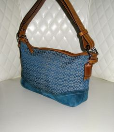 I'm auctioning 'COACH East West Blue Signature Soft Mini Duffle' on #tophatter