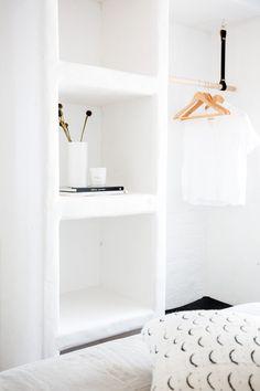 Apartment located in Sunrise Beach, Australia. Interior Design by CLO Studios, Photography by Aimee Dodge. Hanging Rail, Interior Photography, Bedroom Inspo, Floating Nightstand, Dodge, Shelving, Sunrise, Studios, Australia