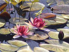 Nenúfar arte acuarela impresión de pintura Original de Cathy Hillegas, rojo, rosa, verde, amarillo, azul, púrpura