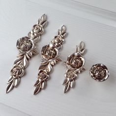 Shabby Chic Dresser Drawer Knobs Pulls Handles Antique Silver Rose Flower Kitchen Cabinet Knobs Handles Pulls Ornate Knobs Handles Hardware by MINIHAPPYLV on Etsy