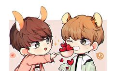 "Read from the story [KookV † VKook] "" Fanart ,, by Daesan_ (bạch vĩnh hy) with reads. Chibi a 😁 Vkook Fanart, Fanart Bts, Bts Chibi, Taekook, Taehyung, Bts Anime, I Need You Love, Bts Drawings, Fan Art"