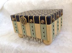 Whimsical Painted Wood Box Black Gold and Green by sharonmooradian, $125.00