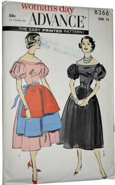 1950's Woman's Day Advance #8366 Dress & Apron Pattern. via dressvintage.com