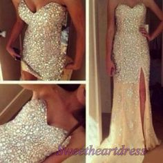Luxury champagne A-line long prom dress, small train ball gown, modest dress, side slit chiffon prom dress with sequins -> sweetheartdress.s... #coniefox #2016prom