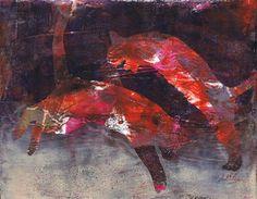 """Cat Dance"" by Sharon Giles original acrylic monotype"