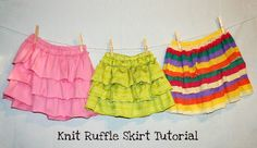Ruffle skirt tutorial using knits (purchased or repurposed material from a mans large polo shirt)