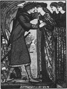 Edward Burne-Jones, King Sigurd the Crusader: A Norse Saga, 1862. Wood engraving.