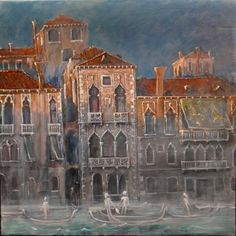 House of Desdemona, Venice Ca'Contarini were the place of drama of Shakespeare's Othello, Oil/tempera on canvas, glazing technique 75 x 75 cm. Glazing Techniques, Othello, Tempera, House Painting, Find Art, Venice, Digital Art, Drama, Canvas