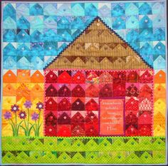 A house of houses quilt by Lisa O'Neill   A Thread from the Edge.