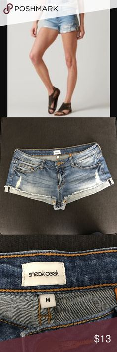 Sneak Peek Ripped Daisy Duke Shorts Size M Sneak Peek Ripped Daisy Duke Shorts Size M. In very good condition, depending how worn and short you like them!! Perfect worn look! Sneak Peek Shorts Jean Shorts