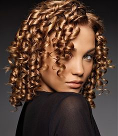 medium blonde curly coloured spiral-perm ringlets womens hairstyle ...