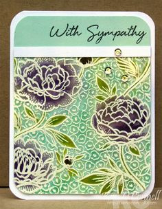 Large Flower background stamp: HA, stamped in VersaMark on vellum/embossed, Tim Holtz distress inks to paint the flowers, Paper Perfect Designs: