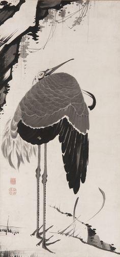 Itō Jakuchū , (Japanese, 1716-1800), Edo period. Cranes, one of a pair, 1775-90, Ink on paper, W: 91.0 cm.