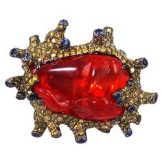 """Plukka """"""""Sun Anemone"""""""" Fire Opal Ring ($7,700) ❤ liked on Polyvore featuring…"""
