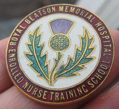 Glasgow+ROYAL+BEATSON+HOSPITAL+NURSE+NURSING+quality+vintage+enamel+pin+BADGE