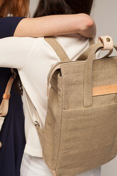 Gift for her: Handle Backpack Raw Natural (Free Worldwide Express Delivery)