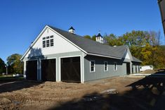 Modular Barn - Manlius, NY | J&N Structures Garage Door Windows, Overhead Garage Door, Double Sliding Doors, Double Hung Windows, Loft Door, Roofing Supplies, Gable Vents, Porch Roof, Paint Companies