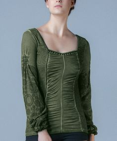 Take a look at this Night Green Ruched Top by Angels Never Die on #zulily today!