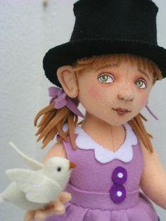birdgirl2  100% wool felt dolls, handmade  Made by Helen Priem who lives in the Netherlands - Beautiful!