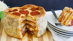 This is a pepperoni pizza cake, which is just a layer of pizza, topped with another layer, and another, and…sorry, drooling. | This Simple Recipe For Pepperoni Pizza Cake Is A Gift