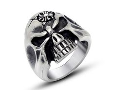 US$ 2.8300 Stainless Steel Skull Head with Cross Rings