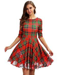 56fa0517cd0 Elegant Red Green Plaid Printed Christmas Party Short Skater Dress