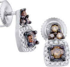 3/8CTW-Diamond BROWN MICRO-PAVE EARRING