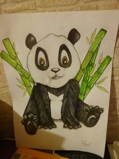 Panda With Bamboo Painting