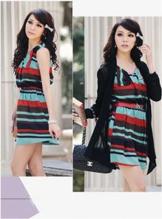 Bowtie Front Colorful Striped Chiffon Dress on BuyTrends.com, only price $10.00