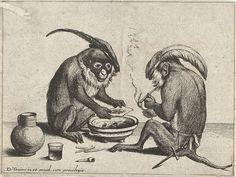Twee apen roken pijp, Quirin Boel, 1635 by peacay, via Flickr