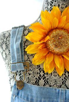 Sunflower pin shabby flower pin rustic bridal by TrueRebelClothing, $12.00