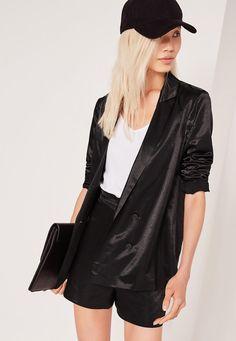 Missguided - Premium Satin Double Breasted Blazer Black
