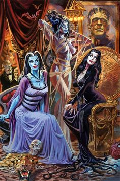 Happy Halloween! #retroglamclothing Lily Munster, The Bride of Frankenstein and Morticia Addams by Dan Brerenton.