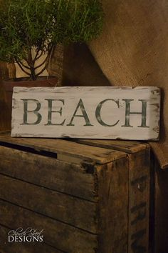 Hand Painted Beach Sign -  Distressed Wooden Sign - Order Your Custom Sign - Church Street Designs