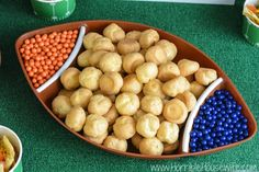 Football party idea- Easy cream puff dessert and team color candies #onebuyforall #shop #cbias