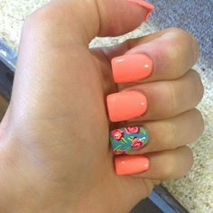 Summer Coral Nails on Picsity