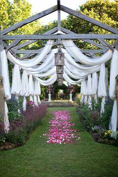 wedding aisle decor - draped fabric and flower petals aisle  http://www.pinterest.com/JessicaMpins