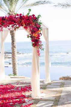 beautiful arch with flowers at a beach wedding. If you want the best officiant for your Outer Banks, NC, ceremony, contact Rev. Barbara Mulford: myobxofficiant.com/