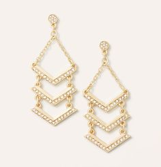 loft//gold paved arrow chandelier earrings