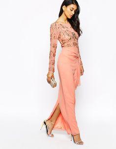 Virgos Lounge Gala Embellished Maxi Dress With Ruched Skirt